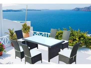 Zagora 6 : table de jardin 8 personnes + 6 chaises en résine tressée noire poly rottin