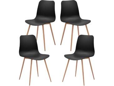 Kera - Lot de 4 chaises scandinaves noire