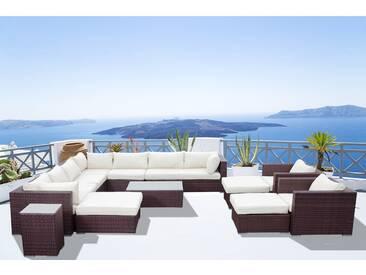 Stalla: Salon de jardin 13/14 pers modulable en résine tressée marron coussins blancs