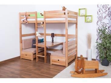 Lit pour enfants / lit superposé / lit fonctionnel Tim hêtre naturel massif (convertible en table avec baquettes ou 2 lit simple), avec sommier déroulable - 90x200 cm
