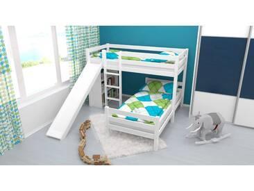 Lit superposé / lit de jeu Phillip hêtre massif laqué blanc avec toboggan et étagère, séparable, sommier déroulable inclus - 90x200 cm