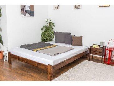Lit futon bois de pin massif de couleur noyer A10, incl. sommier à lattes – Dimensions : 160 x 200 cm