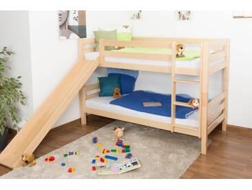 Lit superposé / lit de jeu David hêtre massif naturel avec toboggan, séparable, avec sommier déroulable - 90x200 cm