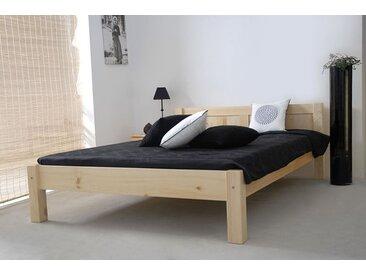 Lit futon/lit en bois massif pin massif bois naturel A1, sommier à lattes incl. - Dimensions: 160 x 200 cm