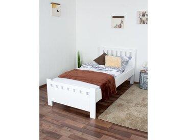 Lit simple / d´appoint en pin massif blanc 68, sommier à lattes inclus - Dimensions 90 x 200 cm