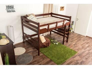 Lit mezzanine pour adultes Easy Premium Line ® K15/n, bois de hêtre massif brun foncé, convertible - Surface de couchage : 140 x 200 cm