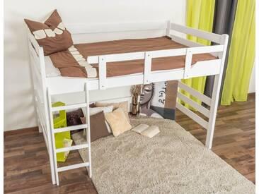 Lit mezzanine pour adultes Easy Premium Line ® K15/n, bois de hêtre massif laqué blanc, convertible - Surface de couchage : 140 x 190 cm
