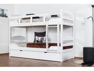 Lit superposé pour adultes Easy Premium Line K13/n incl. 2 tiroirs et 2 panneaux de couverture, tête et pied de lit arrondis, hêtre massif blanc - 90 x 200 cm (l x l), divisible
