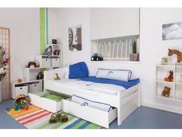 Lit enfant / lit de jeunesse Easy Premium Line ® K1/Voll avec 2 tiroirs et 2 panneaux de couverture inclus, 90 x 200 cm en bois de hêtre massif laqué blanc
