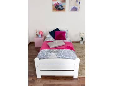 Lit pour enfant / adolescent en pin massif blanc 84, sommier à lattes inclus - Dimensions du couchage: 80 x 200 cm