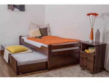 Lit simple / Lit d´appoint Easy Premium Line K1/1h avec 2 couchettes et 2 panneaux de coucverture, 90 x 200 cm en bois de hêtre massif brun foncé