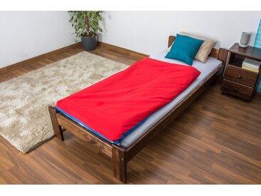 Lit futon bois de pin massif de couleur noyer A8, incl. sommier à lattes – Dimensions : 80 x 200 cm