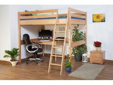 Lit pour enfants / lit mezzanine Christoph hêtre naturel massif avec sommier déroulable - 140x200 cm