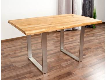 Table de salle à manger Wooden Nature 412 en chêne massif huilé, plateau rustique - 140 x 90 cm (L x l)