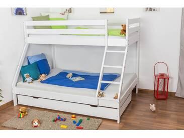 Lit superposé / lit de jeu LUKAS hêtre massif laqué en blanc avec échelle biais, sommier à lattes à enrouler inclus