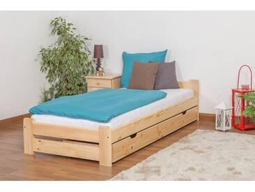 Lit futon/lit bois massif en pin massif naturel A9, incl. sommier à lattes - Dimensions : 90 x 200 cm