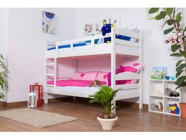 Lit superposé Easy Premium Line K3/n, hêtre massif laqué blanc, séparable - Dimensions : 90 x 190 cm
