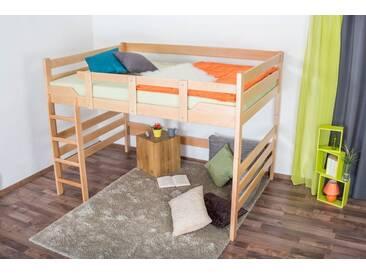 Lit mezzanine pour adultes Easy Premium Line ® K15/n, bois de hêtre massif naturel, convertible - Surface de couchage : 120 x 190 cm