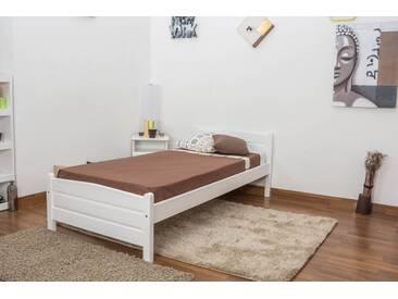 Lit simple / d´ami bois de pin massif blanc A15, incl. sommier à lattes – Dimensions : 90 x 200 cm