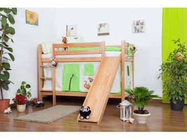 Lit pour enfant /  Lit superposé Moritz en hêtre massif naturel, avec toboggan, sommier à lattes déroulable inclus - 90 x 200 cm