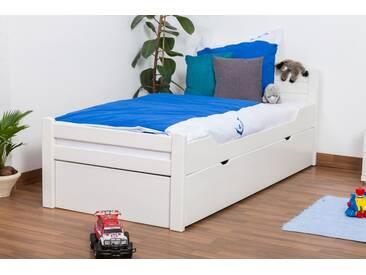 Lit enfant / lit de jeunesse Easy Premium Line ® K1/h Voll avec 2 couchettes et 2 panneaux de couverture inclus, 90 x 200 cm en bois de hêtre massif laqué blanc
