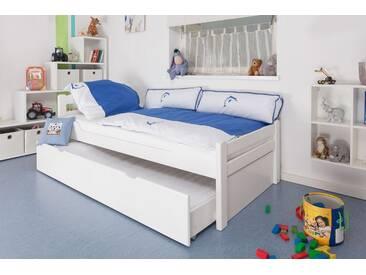 Lit enfant / jeunesse Easy Premium Line ® K1/2h avec 2 couchettes et 2 panneaux de couverture inclus, 90 x 200 cm en bois de hêtre massif laqué blanc
