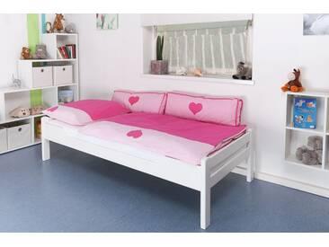 Lit enfant / jeunesse Easy Premium Line K1/1n, bois de hêtre massif, laqué blanc - Dimensions : 90 x 190 cm
