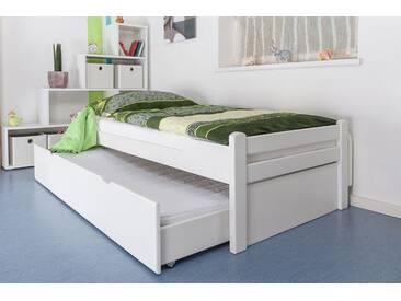 Lit simple / Lit d´appoint Easy Premium Line K1/1h avec 2 couchettes et 2 panneaux de coucverture, 90 x 200 cm en bois de hêtre massif laqué blanc
