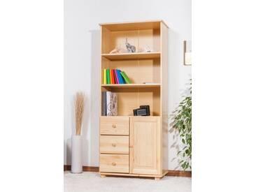 Bibliothèque bois de pin massif de couleur chêne B002 – Dimensions: 190 x 80 x 42 cm (H x L x P)