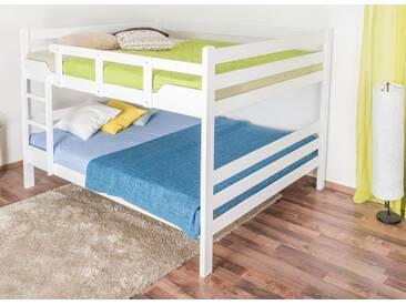 Lits superposés pour adultesEasy Premium Line ® K16/n, tête et pied de lit droits, hêtre bois massif laqué blanc - surface de couchage : 160 x 190 cm, divisible