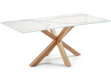 Table Argo 180 cm grès cérame pieds effet bois
