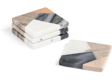 Set de 4 dessous de verre carré Bradney marbre multicolore