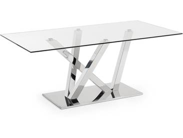 Table Nyc 200x100, inox et verre transparent