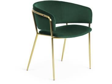Chaise avec accoudoirs Runnie vert pin pieds métal doré
