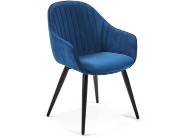 Chaise Herbert velours bleu