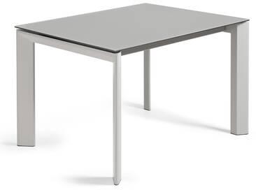 Table extensible Axis 120 (180) cm verre gris pieds gris