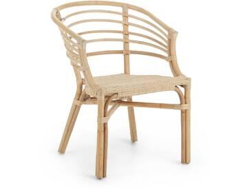 Chaise avec accoudoirs Dewi en rotin natural