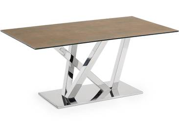 Table Nyc 200x100, inox plateau Iron Corten