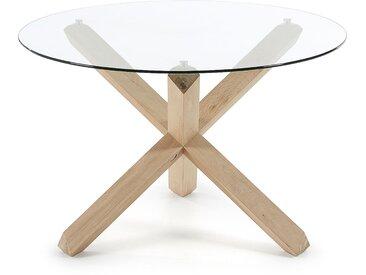 Table ronde Lotus verre