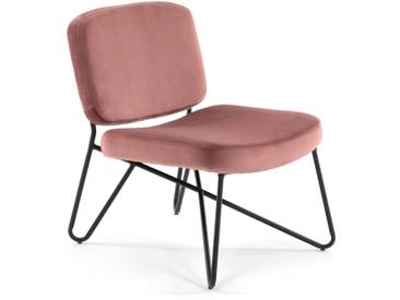 Fauteuil Circuit velours rose