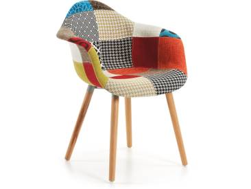 Chaise Kevya patchwork multicolore