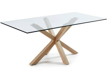 Table Argo 200 cm verre pieds effet bois