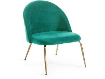 Fauteuil Ivonne velours turquoise