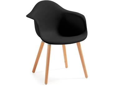 Chaise avec accoudoirs Kevya, noir