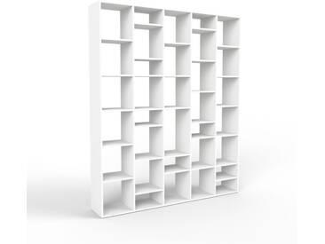 Bibliothèque - blanc, design, étagère pour livres, sophistiquée, ouverte et fonctionelle - 195 x 233 x 35 cm, personnalisable