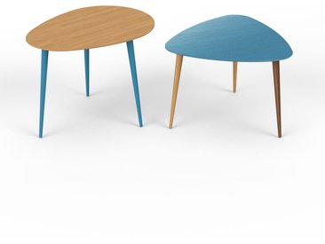 Tables basses gigognes - bleu, ovale/triangulaire, design scandinave, set de 2 tables basses - 67/59 x 50/44 x 50/61 cm, personnalisable
