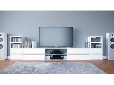 Meuble TV - blanc, contemporain, meuble hifi, multimedia raffiné, avec tiroir blanc - 303 x 80 x 35 cm, configurable