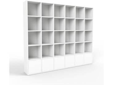 Bibliothèque - blanc, pièce de caractère, rangements raffiné, avec porte blanc - 233 x 195 x 35 cm, configurable