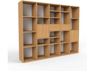 Bibliothèque murale - chêne, combinable, étagère, avec porte chêne et tiroir chêne - 195 x 157 x 35 cm