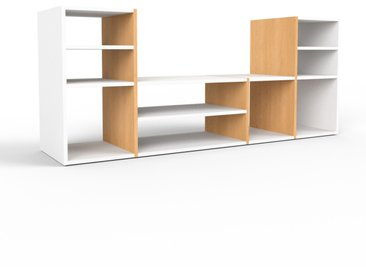 Meuble TV en hêtre, bois massif, aspect naturel, meuble hifi et multimedia de qualité - 193 x 80 x 47 cm, modulable